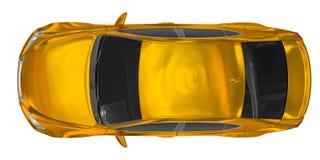 Автомобиль изолированный на бело- золотом, подкрашиванном стекле - взгляд сверху иллюстрация вектора