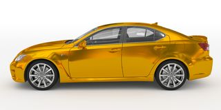 Автомобиль изолированный на бело- золотом, прозрачном стекле - левом взгляде со стороны иллюстрация вектора