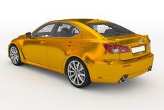 Автомобиль изолированный на бело- золотом, прозрачном стекле - назад-левом si иллюстрация штока