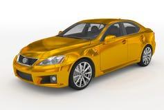 Автомобиль изолированный на бело- золотом, прозрачном стекле - передн-левом s иллюстрация вектора