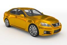 Автомобиль изолированный на бело- золотом, прозрачном стекле - передн-правом бесплатная иллюстрация