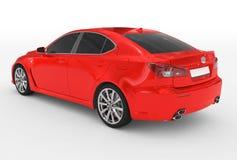 Автомобиль изолированный на бело- красной краске, подкрашиванном стекле - назад-левой стороне иллюстрация штока