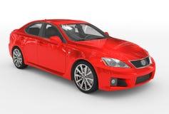 Автомобиль изолированный на бело- красной краске, прозрачном стекле - передн-снаряжении бесплатная иллюстрация