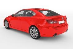 Автомобиль изолированный на бело- красной краске, прозрачном стекле - назад-левом иллюстрация вектора