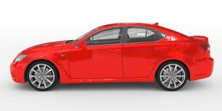 Автомобиль изолированный на бело- красной краске, прозрачном стекле - левом взгляде со стороны бесплатная иллюстрация