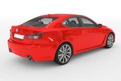 Автомобиль изолированный на бело- красной краске, прозрачном стекле - back-righ иллюстрация вектора