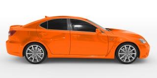 Автомобиль изолированный на бело- оранжевой краске, подкрашиванном стекле - правильной позиции иллюстрация штока