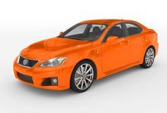 Автомобиль изолированный на бело- оранжевой краске, прозрачном стекле - фронте иллюстрация вектора