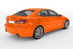 Автомобиль изолированный на бело- оранжевой краске, прозрачном стекле - back-r иллюстрация штока