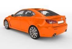 Автомобиль изолированный на бело- оранжевой краске, прозрачном стекле - back-l иллюстрация штока