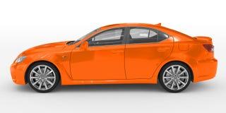 Автомобиль изолированный на бело- оранжевой краске, прозрачном стекле - левом взгляде со стороны иллюстрация вектора