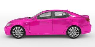 Автомобиль изолированный на бело- пурпурной краске, прозрачном стекле - левом взгляде со стороны бесплатная иллюстрация