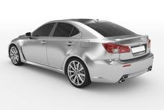 Автомобиль изолированный на бело- серебре, подкрашиванном стекле - назад-левой стороне VI иллюстрация штока