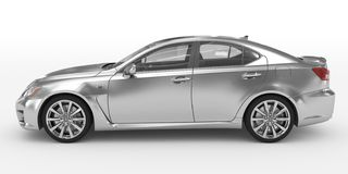 Автомобиль изолированный на бело- серебре, прозрачном стекле - левом взгляде со стороны бесплатная иллюстрация