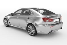 Автомобиль изолированный на бело- серебре, прозрачном стекле - назад-левом si иллюстрация штока