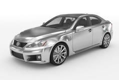 Автомобиль изолированный на бело- серебре, прозрачном стекле - передн-левом s иллюстрация штока