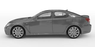 Автомобиль изолированный на бело- серой краске, прозрачном стекле - левом взгляде со стороны иллюстрация штока