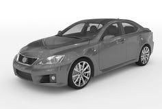 Автомобиль изолированный на бело- серой краске, прозрачном стекле - передн-le иллюстрация штока
