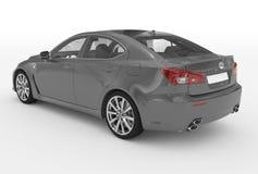 Автомобиль изолированный на бело- серой краске, прозрачном стекле - back-lef иллюстрация штока