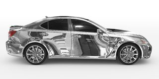 Автомобиль изолированный на бело- хроме, подкрашиванном стекле - взгляде правильной позиции бесплатная иллюстрация