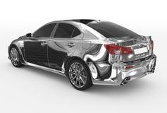 Автомобиль изолированный на бело- хроме, подкрашиванном стекле - назад-левой стороне VI иллюстрация вектора