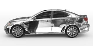 Автомобиль изолированный на бело- хроме, подкрашиванном стекле - выведенном взгляде со стороны иллюстрация штока