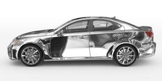 Автомобиль изолированный на бело- хроме, прозрачном стекле - левом взгляде со стороны иллюстрация штока