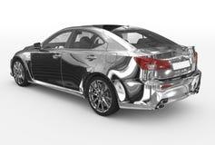 Автомобиль изолированный на бело- хроме, прозрачном стекле - назад-левом si бесплатная иллюстрация