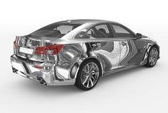 Автомобиль изолированный на бело- хроме, прозрачном стекле - назад-правом s иллюстрация штока