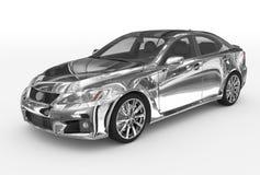 Автомобиль изолированный на бело- хроме, прозрачном стекле - передн-левом s иллюстрация вектора
