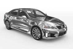 Автомобиль изолированный на бело- хроме, прозрачном стекле - передн-правом бесплатная иллюстрация