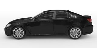 Автомобиль изолированный на бело- черной краске, подкрашиванном стекле - левой стороне VI иллюстрация штока