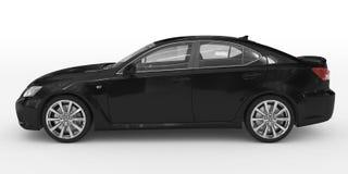 Автомобиль изолированный на бело- черной краске, прозрачном стекле - левом взгляде со стороны иллюстрация штока