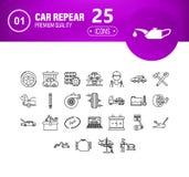 автомобиль и гараж на смелейшей и тонкой линии концепции значков иллюстрация вектора