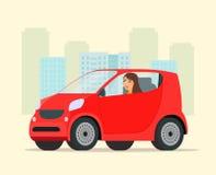 Автомобиль компактного города красный с взглядом со стороны женщины водителя иллюстрация вектора