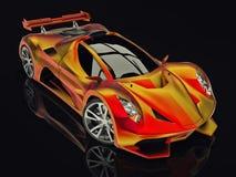 Автомобиль концепции гонок Изображение автомобиля на черной лоснистой предпосылке перевод 3d Стоковое Изображение