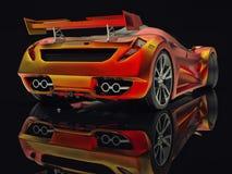 Автомобиль концепции гонок Изображение автомобиля на черной лоснистой предпосылке перевод 3d Стоковое фото RF