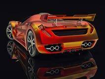 Автомобиль концепции гонок Изображение автомобиля на черной лоснистой предпосылке перевод 3d Стоковые Фото