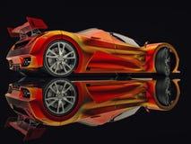 Автомобиль концепции гонок Изображение автомобиля на черной лоснистой предпосылке перевод 3d Стоковые Изображения RF