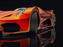 Автомобиль концепции гонок Изображение автомобиля на черной лоснистой предпосылке перевод 3d Стоковые Изображения