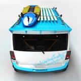 Автомобиль молодости для мероприятий на свежем воздухе Завершенный в стиле старой школы Машина для серферов бесплатная иллюстрация