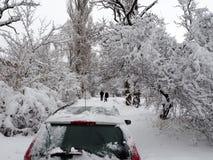 Автомобиль на дороге зимы стоковые изображения rf
