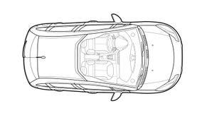 Автомобиль от вектора взгляда сверху Плоский автомобиль дизайна стоковое изображение rf