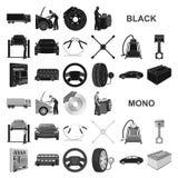 Автомобиль, подъем, насос и другое оборудование чернят значки в собрании комплекта для дизайна Символ вектора станции обслуживани иллюстрация штока
