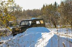 Автомобиль покинутый в древесинах Стоковые Фото