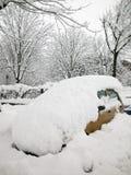 автомобиль покрыл снежок Стоковое Изображение