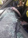 Автомобиль разбил в аварию Стоковая Фотография RF