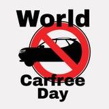 Автомобиль силуэта и красный знак запрета День без автомобиля Запрещая знак r Значок r r Знак r иллюстрация вектора