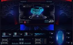 Автомобиль скеннирования, анализ и корабль диагностик, элементы HUD UI, выбор частей автомобиля Состояние диагностик оборудования бесплатная иллюстрация
