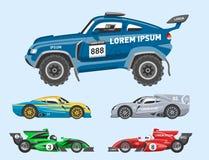 Автомобиль скорости вектора гоночной машины спорта и мотор offroad автомобиля ралли красочный быстрый участвуя в гонке автоматиче иллюстрация вектора
